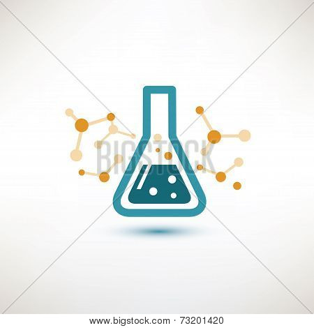Chemical Glass Symbol, Chemistry And Science Concept