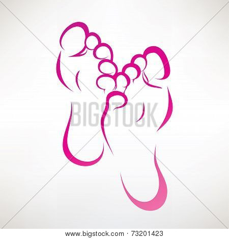 Foot Print Ountlined Vector Symbol