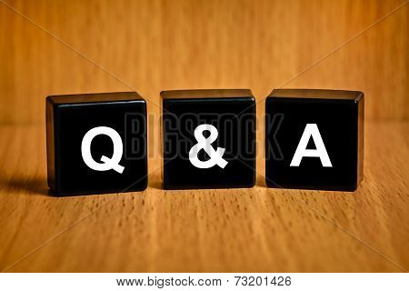 Q&a Or Questions And Answers Word On Black Block