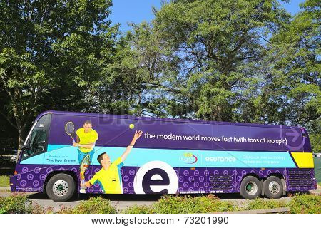 Commuter bus sponsored by Esurance at US Open 2014 near Billie Jean King National Tennis Center