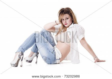 Sexy Young Woman With Unbutton Shirt