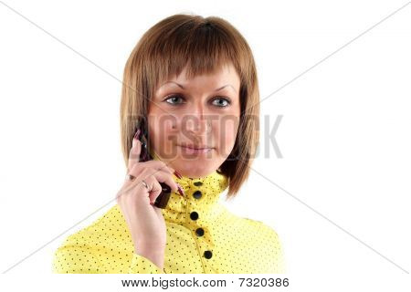 Young Business Woman Calling By Mobile Phone