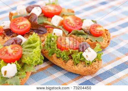 Sandwiches With Rusks And Vegetables