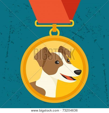 Background with gold medal and dog champion.