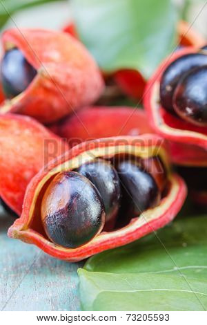 Sweet Chestnuts On Wooden Background. (sterculia Monosperma)