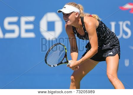 Professional tennis player Caroline Wozniacki practices for US Open 2014