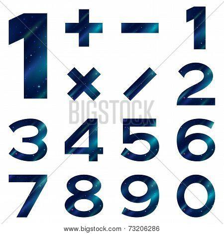 Numbers set, blue space