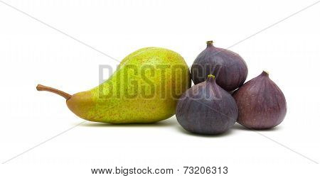 Pear And Figs Isolated On White Background