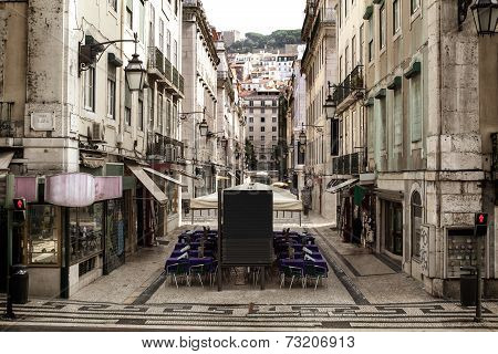 Historic Street Of The Old City Lisboa