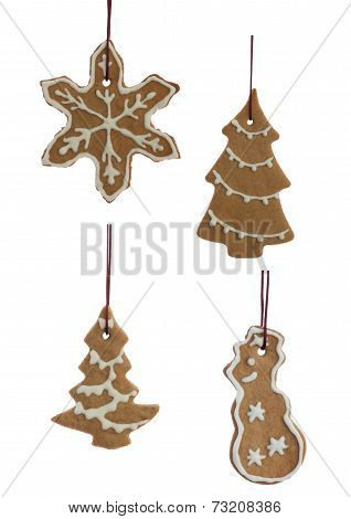 Set Of Hanging Decorated Ginger Bread Cookies