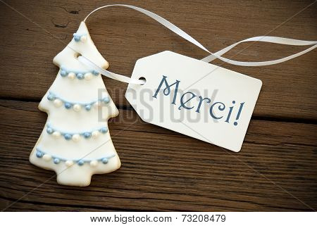 Christmas Tree Cookie With Merci Label