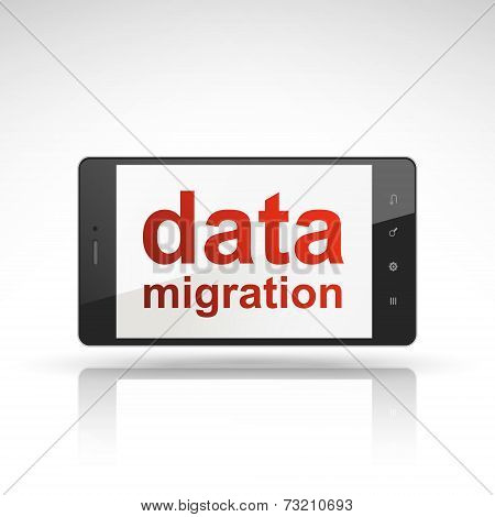 Data Migration Words On Mobile Phone