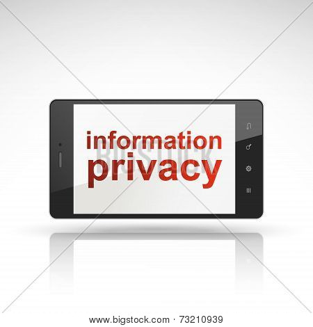 Information Privacy Words On Mobile Phone