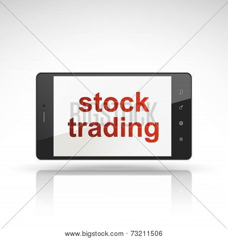 Stock Trading Words On Mobile Phone