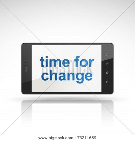 Time For Change Words On Mobile Phone