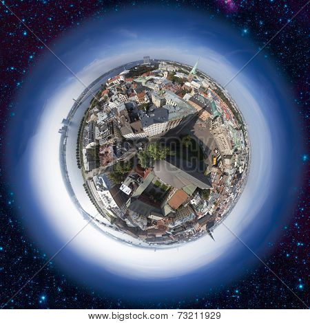 Riga old town skyline view from above, 360 degree miniplanet (Elements of this image furnished by NASA)