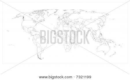 World Map Keyline - Vector