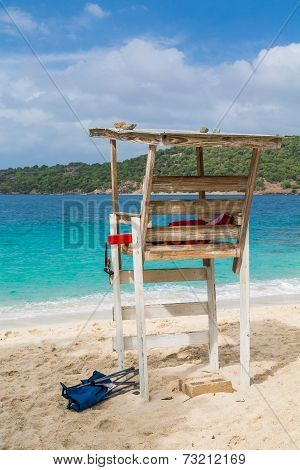 Old Wood Lifeguard Chair