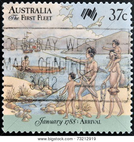 AUSTRALIA - CIRCA 1987: A stamp printed in Australia shows First Fleet arrives at Cape of Good Hope
