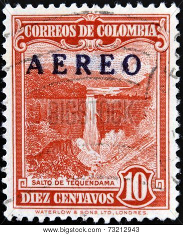 COLOMBIA - CIRCA 1948: A stamp printed in Colombia shows Tequendama Falls circa 1948