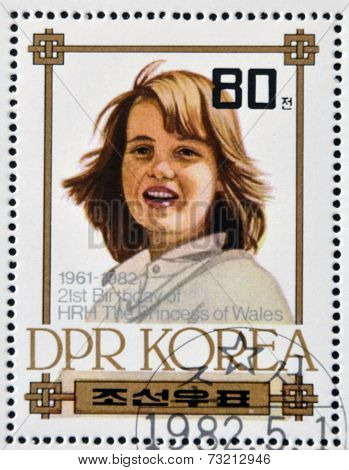 NORTH KOREA - CIRCA 1982: A stamp printed in DPR Korea shows Princess Diana of Wales circa 1982
