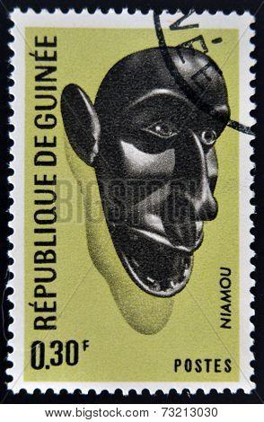GUINEA - CIRCA 1967: stamp printed in Guinea shows Niamou Mask circa 1967