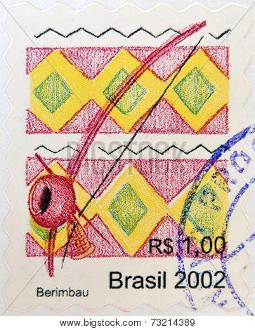 BRAZIL- CIRCA 2002: A stamp printed in Brazil shows a Berimbau circa 2002