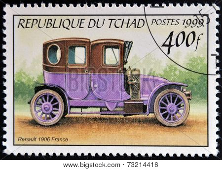 CHAD - CIRCA 1999: A stamp printed in Chad shows retro car Renault 1906 France circa 1999