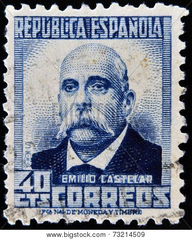 SPAIN - CIRCA 1931: A stamp printed in Spain shows Emilio Castelar circa 1931