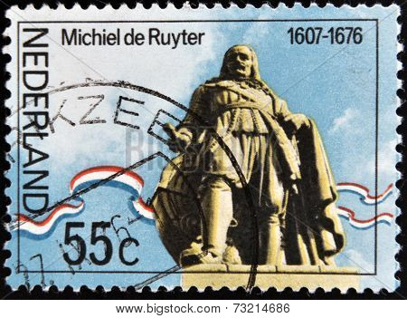 NETHERLANDS - CIRCA 1976: A stamp printed in Holand shows statue of Admiral Michiel Adrianszoon