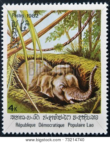 LAOS - CIRCA 1982: A stamp printed in Laos shows an Asiatic elephant circa 1982