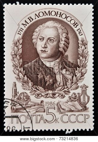 USSR - CIRCA 1986: A stamp printed in USSR commemorates Mikhail Lomonosov a Russian Scientist
