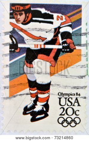 UNITED STATES OF AMERICA - CIRCA 1984: A stamp printed in USA dedicated to the Olympics 84