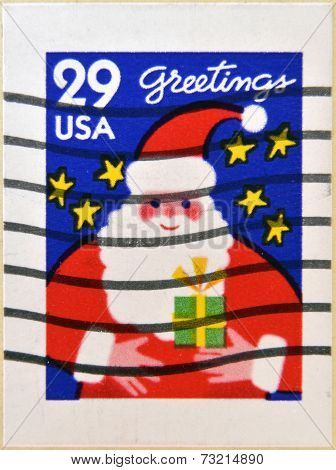 UNITED STATES OF AMERICA - CIRCA 1994: A stamp printed in USA shows Santa greetings circa 1994