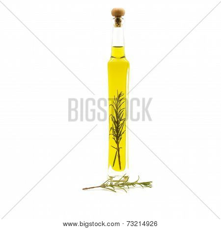 Detail of oil flavored with rosemary branch