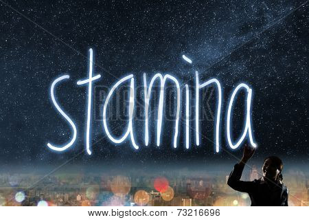 Concept of stamina, silhouette asian business woman light drawing.