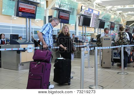 Vancouver, BC Canada - September 13, 2014 : Close up Air Canada registration desk at YVR airport in Vancouver BC Canada.