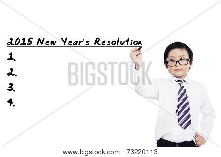 Little Boy Makes Resolutions In 2015