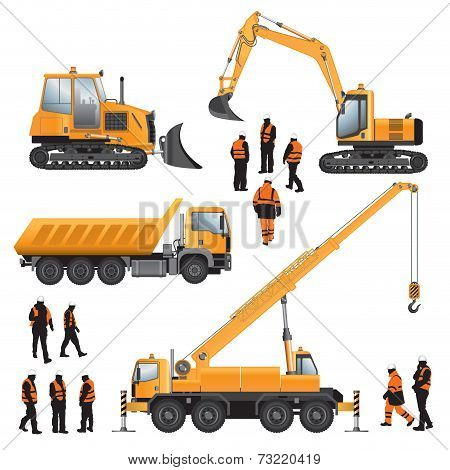 Workers And Construction Machines
