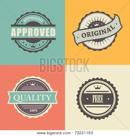 vector commercial stamps set in vintage style for business and design