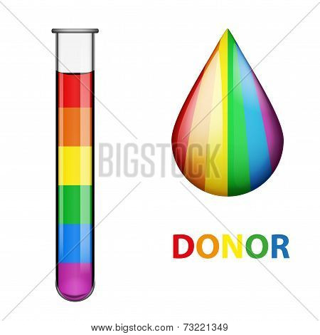 test tubes with blood and drop in rainbow style.
