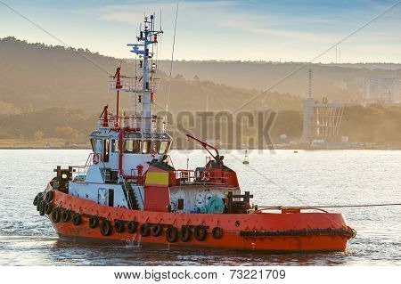 Red Tug Is Underway On Black Sea, Varna Harbor, Bulgaria