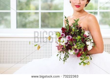 Wedding Bouquet With Succulent Flowers And Hop