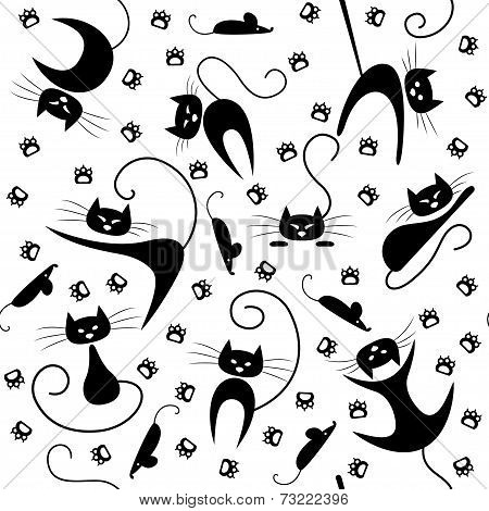 Seamless pattern with black cats, paw prints and mice