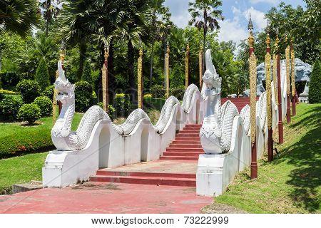 The Naga Sculpture On Staircase Rail