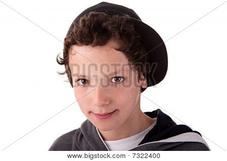 Cute Boy, With A Cap, Smiling