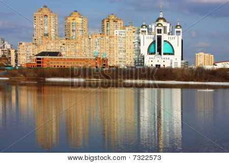 Kiev city panorama with the river Dniper
