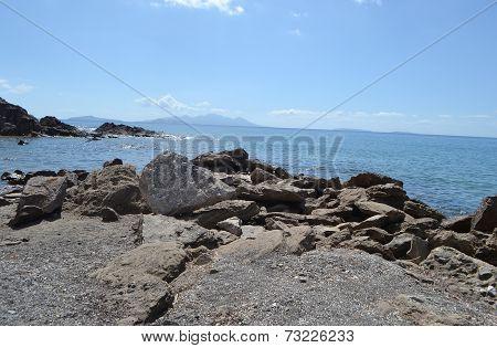 Rocks On The Shore Of Aegean Sea