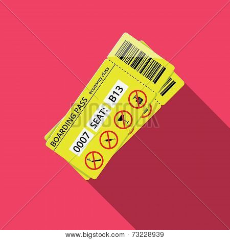 Business style icon of boarding pass to economy class