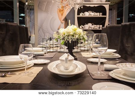 Elegant Table On Display At Homi, Home International Show In Milan, Italy